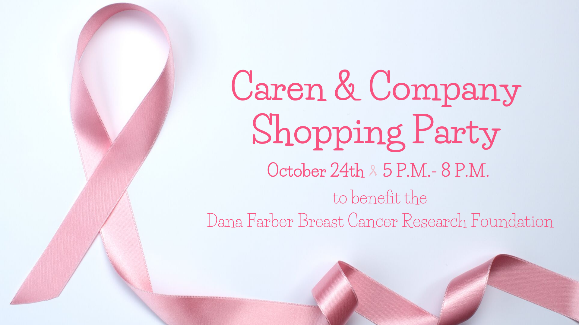 Caren & Co Charity Shopping Party Graphic